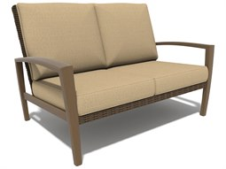 Winston Soho Cushion Quick Ship Birch Finish and Warm Bronze Wicker Loveseat
