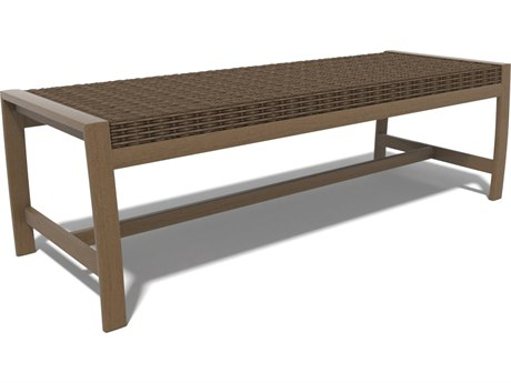 Winston Soho Woven Quick Ship Birch Finish with Warm Bronze Wicker Bench