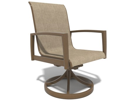 Winston Soho Quick Ship Birch Aluminum Swivel Rocker Chair with Augustine Fennel Sling