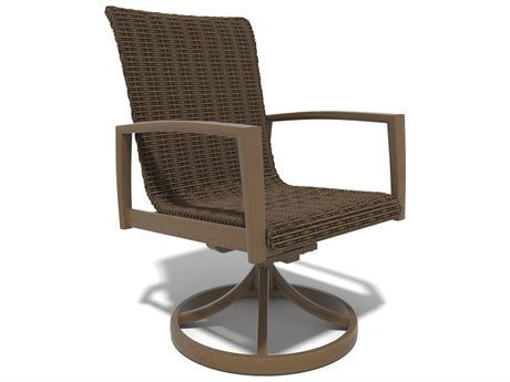 Winston Soho Woven Quick Ship Birch Finish with Warm Bronze Wicker Swivel Rocker Chair