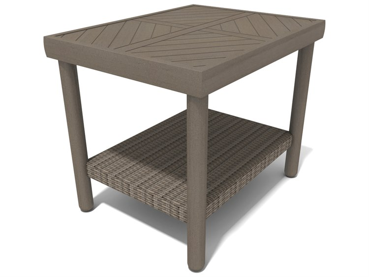Winston Hampton Sectional Quick Ship Barnwood Finish and Parchment Wicker 26''W x 20''D Rectangular End Table