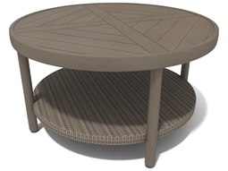Hampton Sectional Quick Ship Barnwood Finish and Parchment Wicker 40'' Round Coffee Table