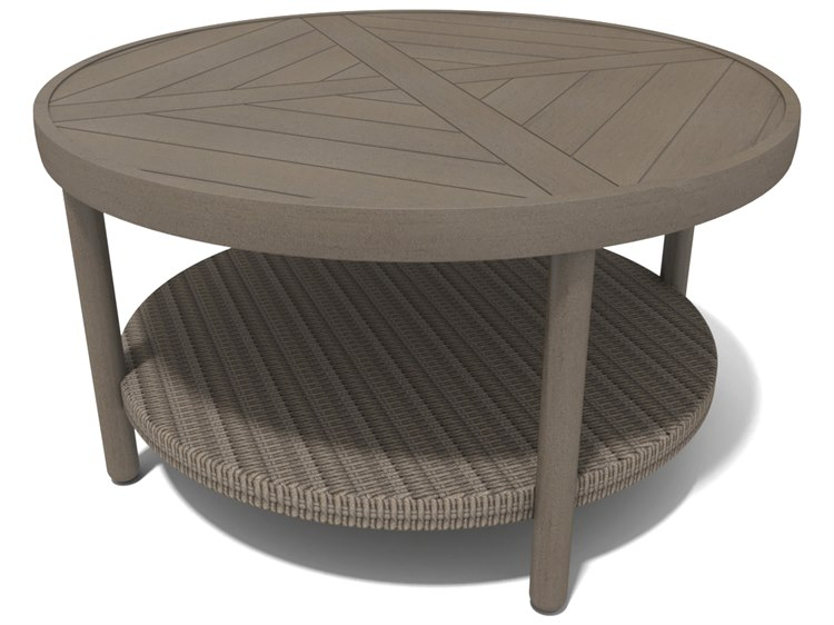 Winston Hampton Sectional Quick Ship Barnwood Finish and Parchment Wicker 40'' Round Coffee Table