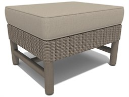 Winston Hampton Sectional Quick Ship Barnwood Finish and Parchment Wicker Ottoman