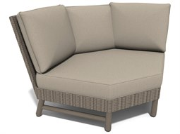 Winston Hampton Sectional Quick Ship Barnwood Finish and Parchment Wicker Corner Sectional