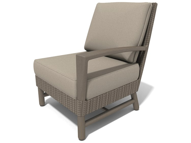 Winston Hampton Sectional Quick Ship Barnwood Finish and Parchment Wicker Left Arm Lounge Chair