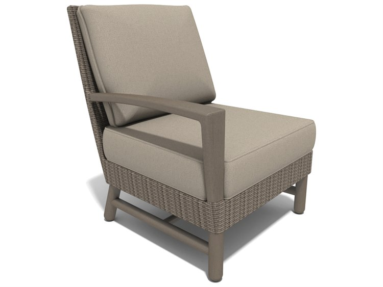Winston Hampton Sectional Quick Ship Barnwood Finish and Parchment Wicker Right Arm Lounge Chair