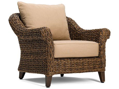 Winston Quick Ship Cayman Wicker Heritage Brown Aluminum Lounge Chair