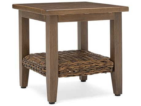 Winston Quick Ship Cayman Wicker Heritage Brown Aluminum 20''Wide Square Side Table