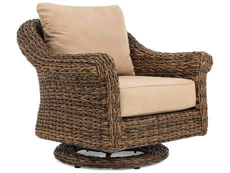 Winston Quick Ship Cayman Wicker Heritage Brown Aluminum Swivel Glider Lounge Chair