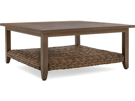 Winston Quick Ship Cayman Wicker Heritage Brown Aluminum 42'' Wide Square Chat Table