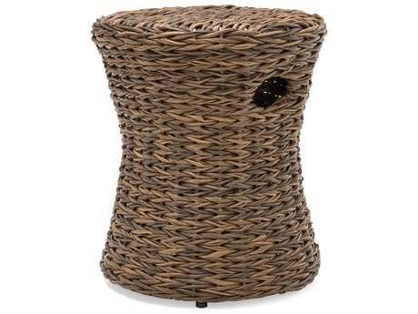 Winston Quick Ship Cayman Wicker Aluminum Heritage Brown 15''Wide Round Drum Stool / Side Table