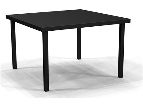 Winston Quick Ship Jasper Woven Textured Pewter Aluminum 44''Wide Square Solid Top Dining Table