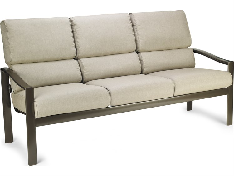 Winston Quick Ship Belvedere Cushion Aluminum Stationary Sofa PatioLiving