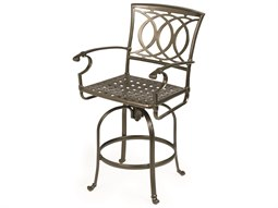 Cast Aluminum Swivel Bar Stool with Cast Seat - Quick Ship