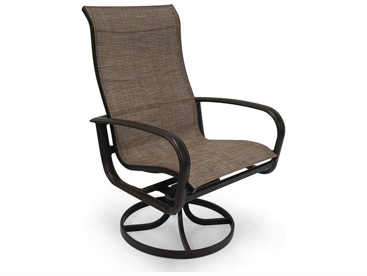 Winston Quick Ship Savoy Sling Aluminum Ultimate High Back Swivel Tilt Dining Chair