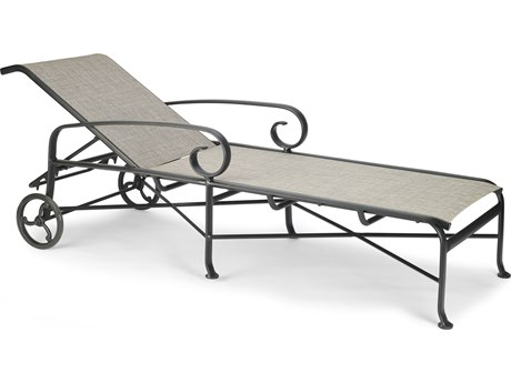 Winston Quick Ship Veneto Sling Cast Aluminum Chaise with Wheels