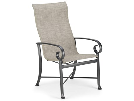Winston Quick Ship Veneto Sling Cast Aluminum Ultimate High Back Dining Chair
