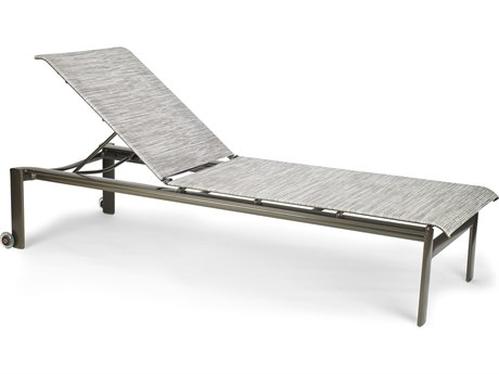Winston Quick Ship Breeze Sling Aluminum Armless Stack Chaise with Skate wheels
