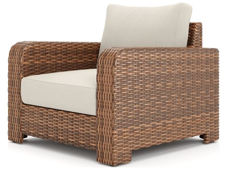 Winston Quick Ship Nico Sectional Antique Chestnut Wicker Lounge Chair