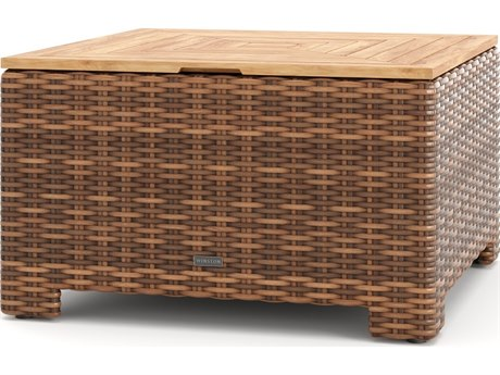 Winston Quick Ship Nico Sectional Antique Chestnut Wicker 36'' Wide Square Chat / Corner Table