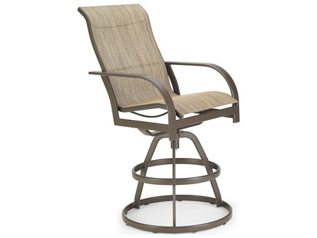 Winston Quick Ship Key West Sling Aluminum Swivel Bar Stool PatioLiving