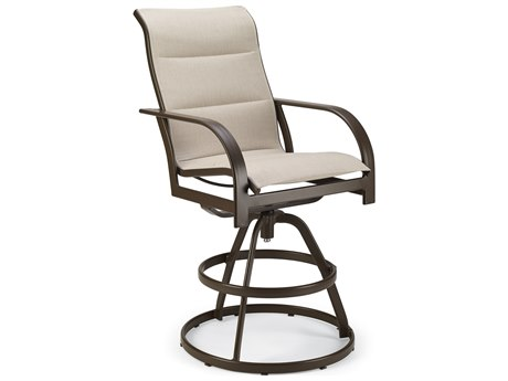 Winston Quick Ship Key West Padded Sling Aluminum Swivel Bar Stool PatioLiving