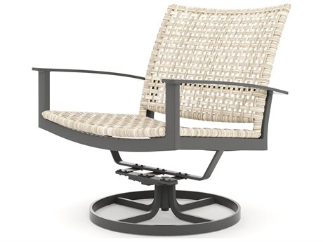Winston Quick Ship Jasper Woven Textured Pewter Aluminum Swivel Lounge Chair PatioLiving