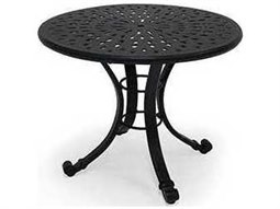 Winston Cast Aluminum - Round Metal Patio End Table with Umbrella Hole