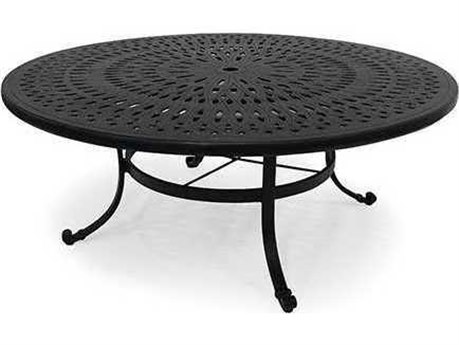 Winston Cast Aluminum - Round Metal Patio Chat Table with Umbrella Hole