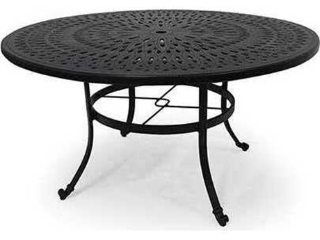 Winston Cast Aluminum - Round Metal Patio Dining Table with Umbrella Hole