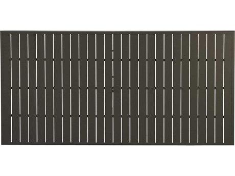 Winston Alternative Aluminum 85 x 42 Rectangular Slat Extruded Table Top with Umbrella Hole