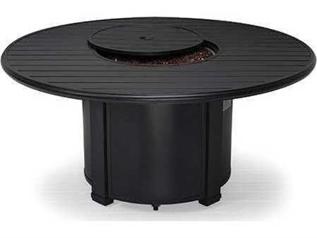 Winston Quick Ship Aluminum 54 Round Slat Fire Pit Table PatioLiving