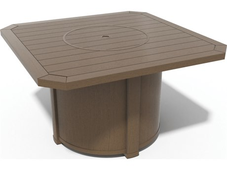 Winston Soho Cushion Quick Ship Birch Finish and Warm Bronze Wicker 44'' Square Top LP Fire Pit