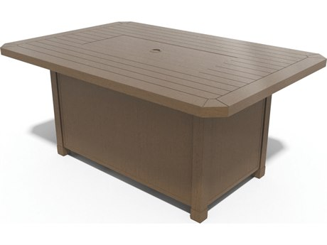 Winston Soho Cushion Quick Ship Birch Finish and Warm Bronze Wicker 56''W x 40''D Rectangular Fire Pit