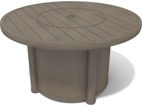 Winston Hampton Sectional Quick Ship Barnwood Finish and Parchment Wicker 44'' Round Fire Pit