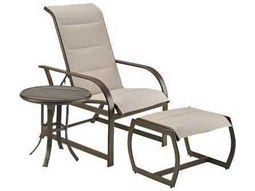 Quick Ship Key West Padded Sling Aluminum 3 Piece Lounge Set