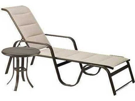 Winston Quick Ship Key West Padded Sling Aluminum 2 Piece Lounge Chaise Set PatioLiving