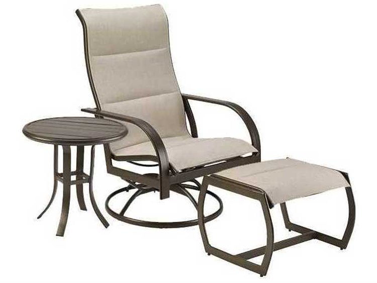 Winston Quick Ship Key West Padded Sling Aluminum 3 Piece Swivel Lounge Set PatioLiving