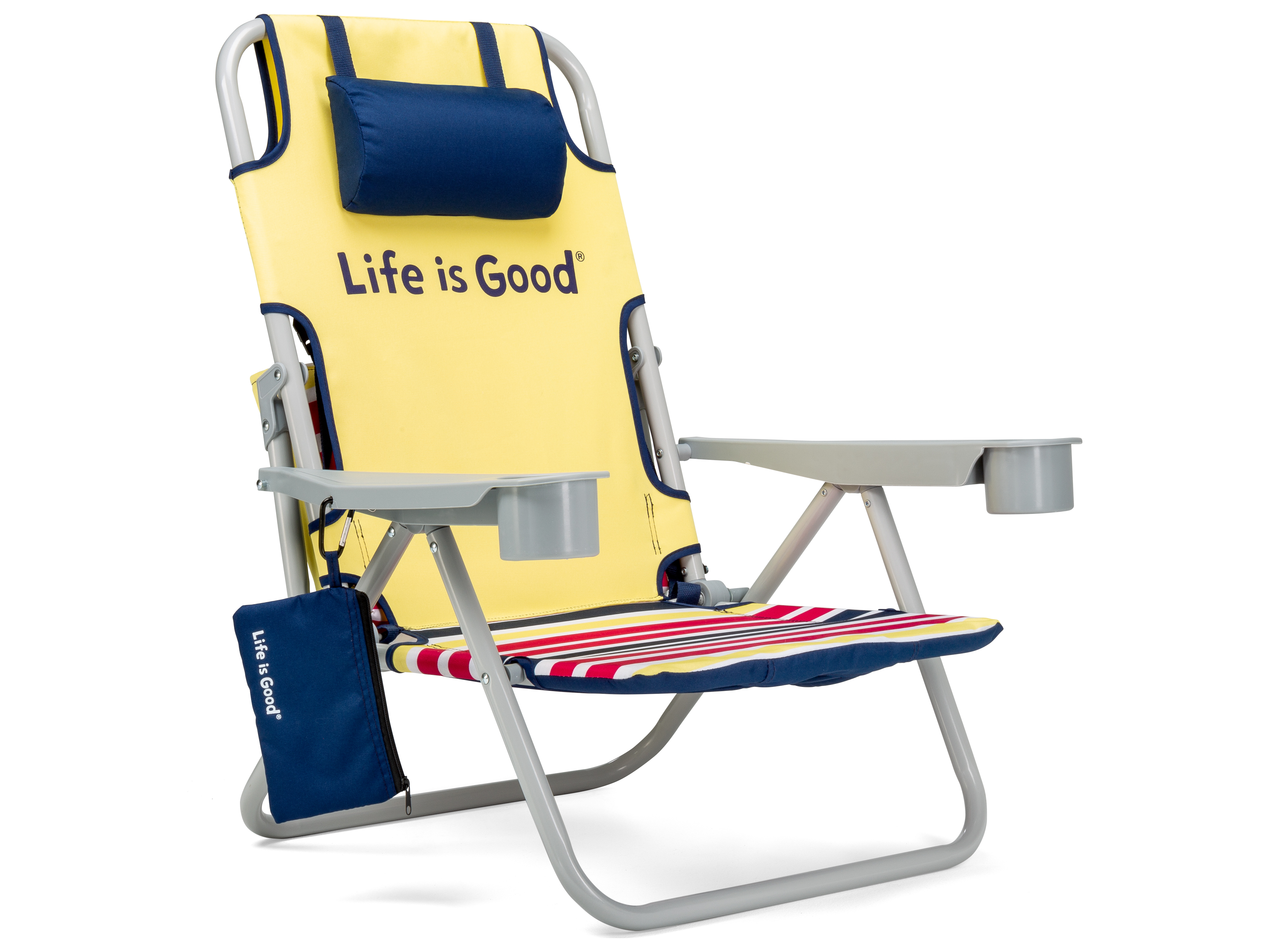 Picture of: Life Is Good Quick Ship Aluminum Grey Beach Chair In Daisy Yellow Ligbc Y 1pk