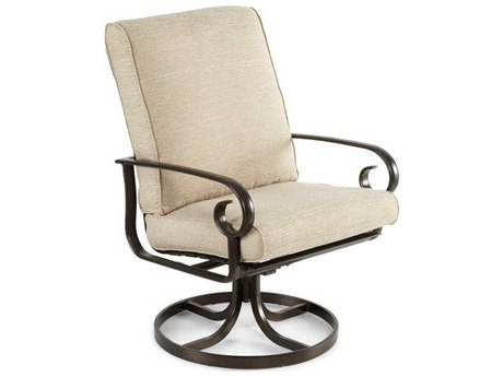 Winston Veneto Cushion Cast Aluminum High Back Swivel Tilt Arm Dining Chair PatioLiving