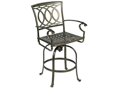 Winston Marseille Cast Aluminum Swivel Bar Stool with Cast Seat