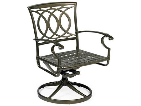 Winston Marseille Cast Aluminum Metal Swivel Tilt Dining Chair - Cast Seat Arm Dining Chair