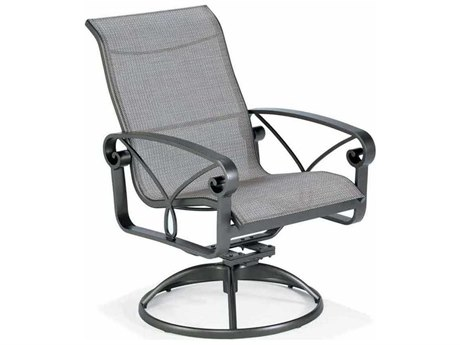 Winston Palazzo Sling Cast Aluminum High Back Arm Swivel Tilt Dining Chair PatioLiving