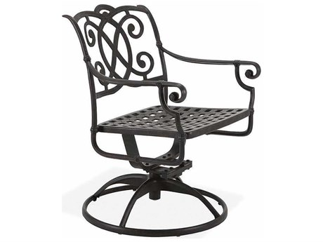 Winston Volterra Cast Aluminum Metal Arm Swivel Tilt Dining Chair - Cast Seat