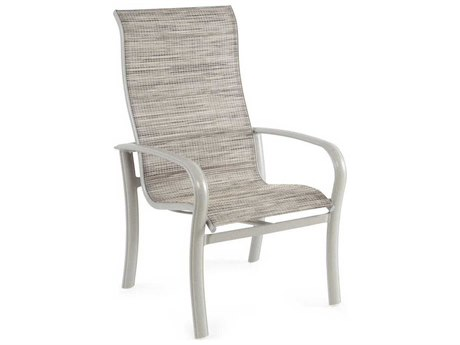 Winston Savoy Sling Aluminum Ultimate High Back Arm Dining Chair PatioLiving