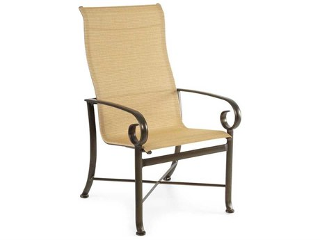 Winston Veneto Sling Cast Aluminum Ultimate High Back Arm Dining Chair