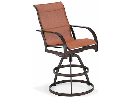 Winston Key West Sling Aluminum Arm Swivel Bar Stool PatioLiving