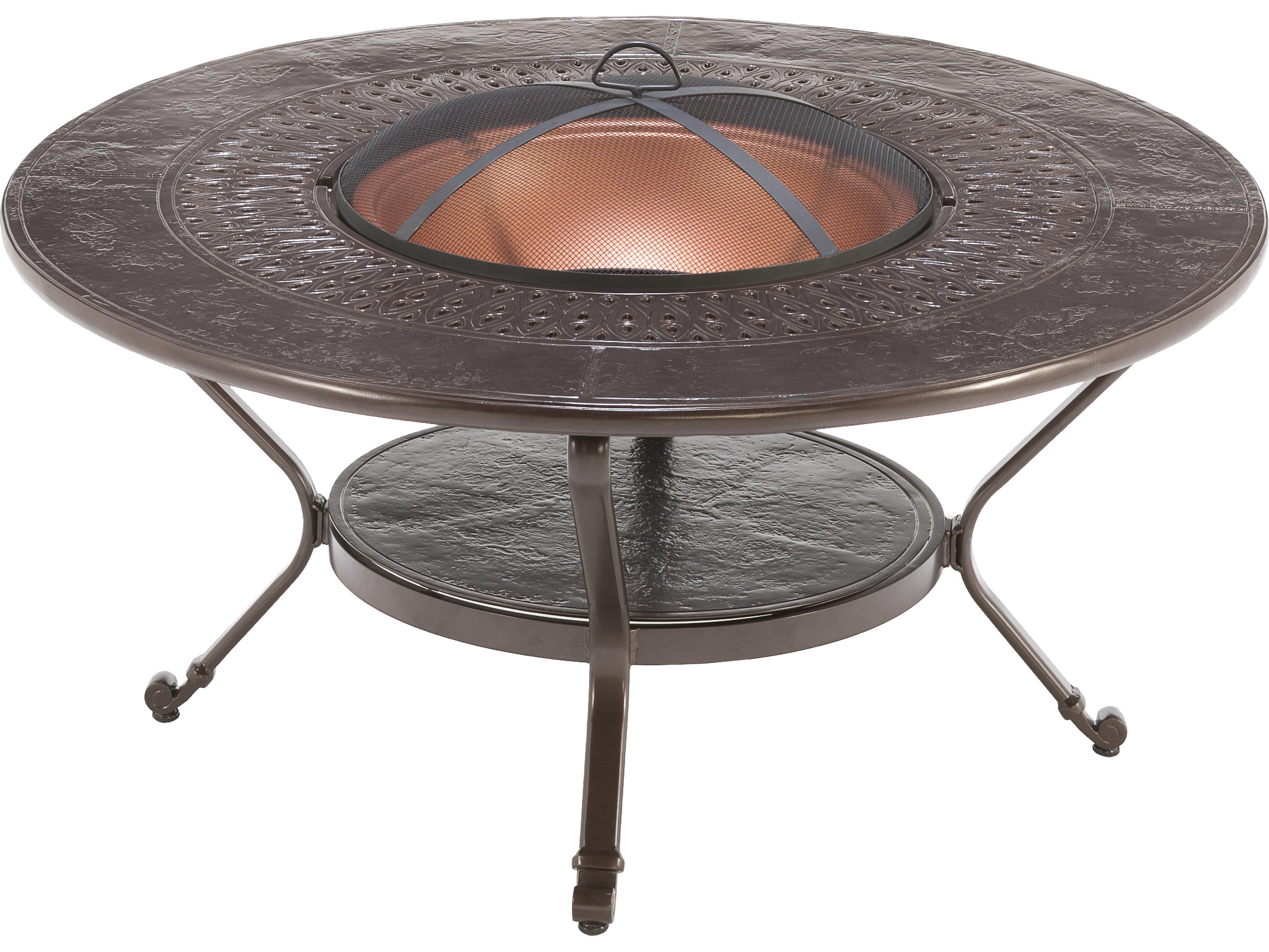 Outdoor fire pit tables patioliving winston firepit cast aluminum 48 round metal fire pit table geotapseo Gallery