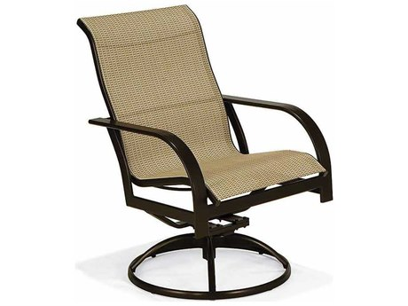 Winston Key West Sling Aluminum High Back Swivel Tilt Chair Swivel Arm Dining Chair PatioLiving